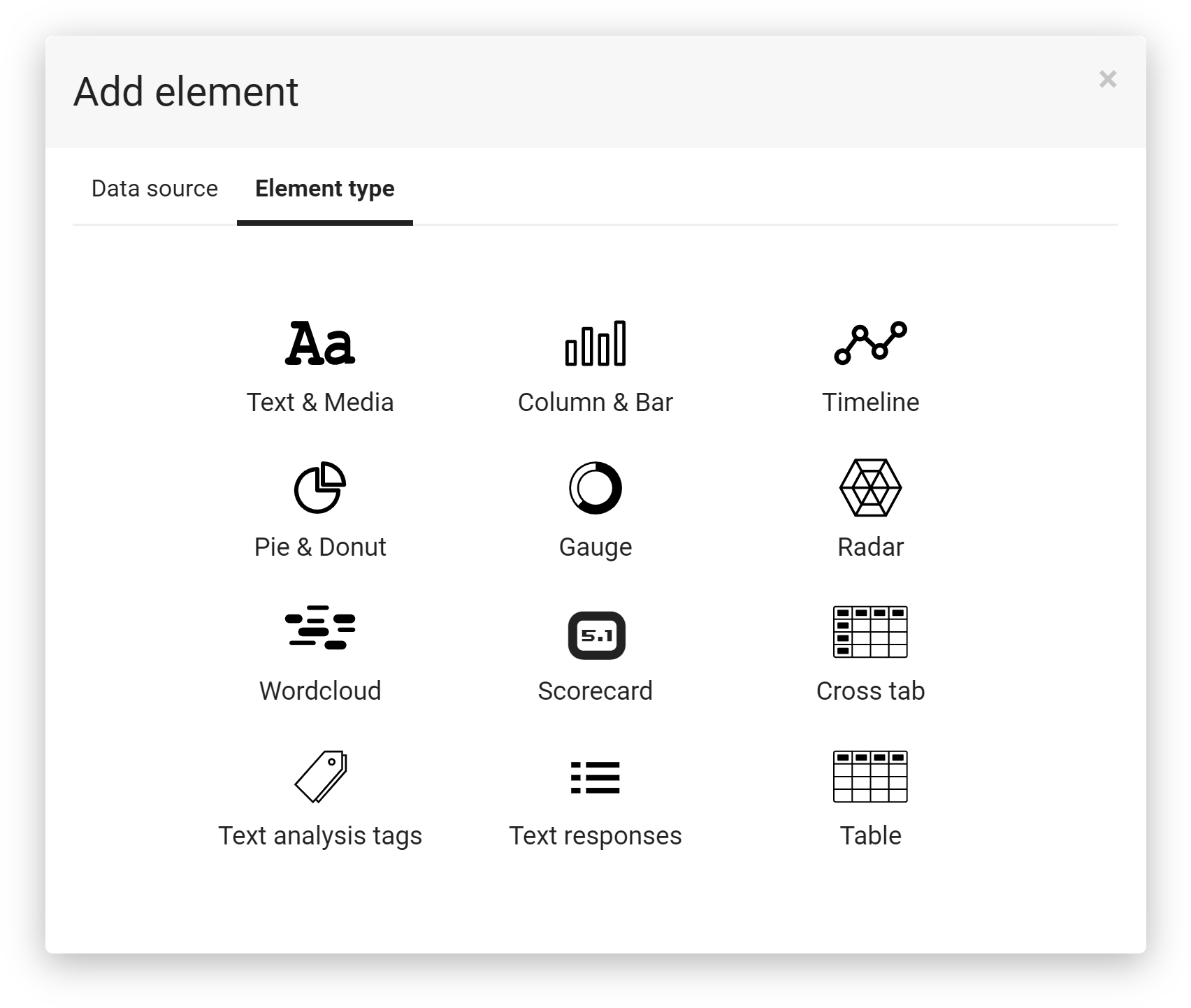 You have total control over every aspect of your reports, from the styling to which questions and chart types are used. You can include your meta-data and add dynamic content that changes depending on the results.