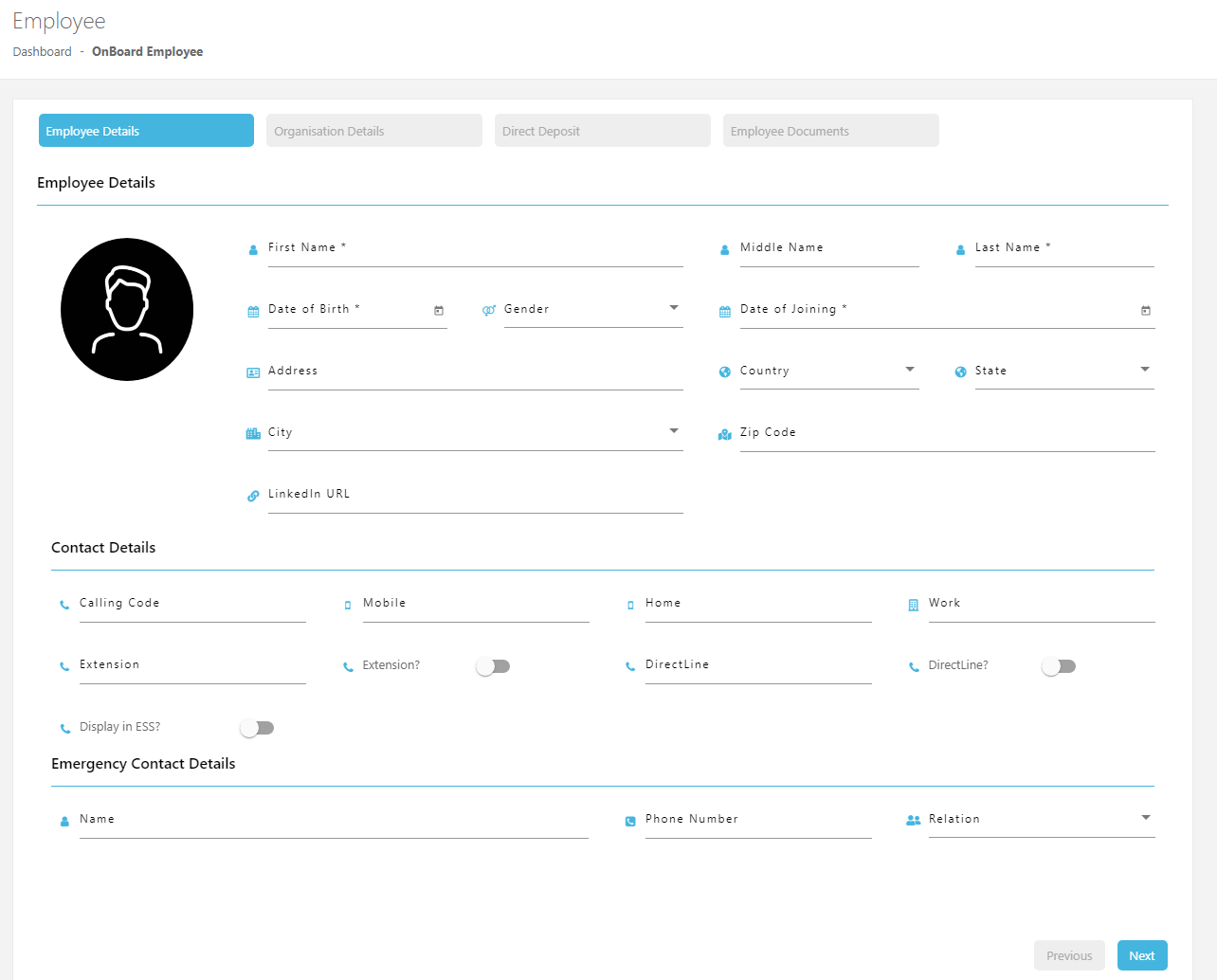 Best ever intuitive user interface to collect the data at the time of onboarding of new employees.