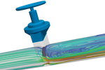 SimScale screenshot: Computational fluid dynamics simulation of a valve with SimScale