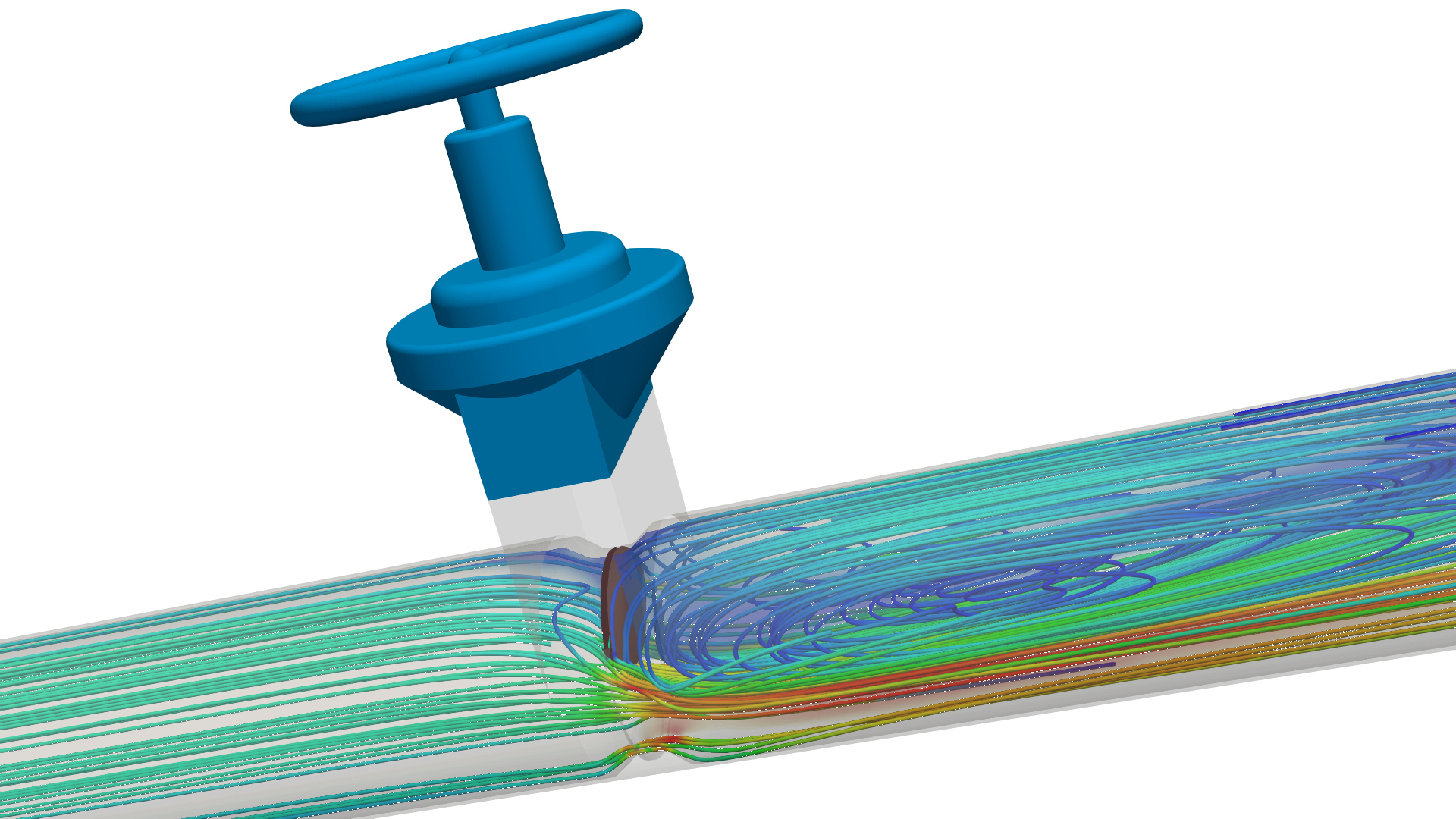 Computational fluid dynamics simulation of a valve with SimScale