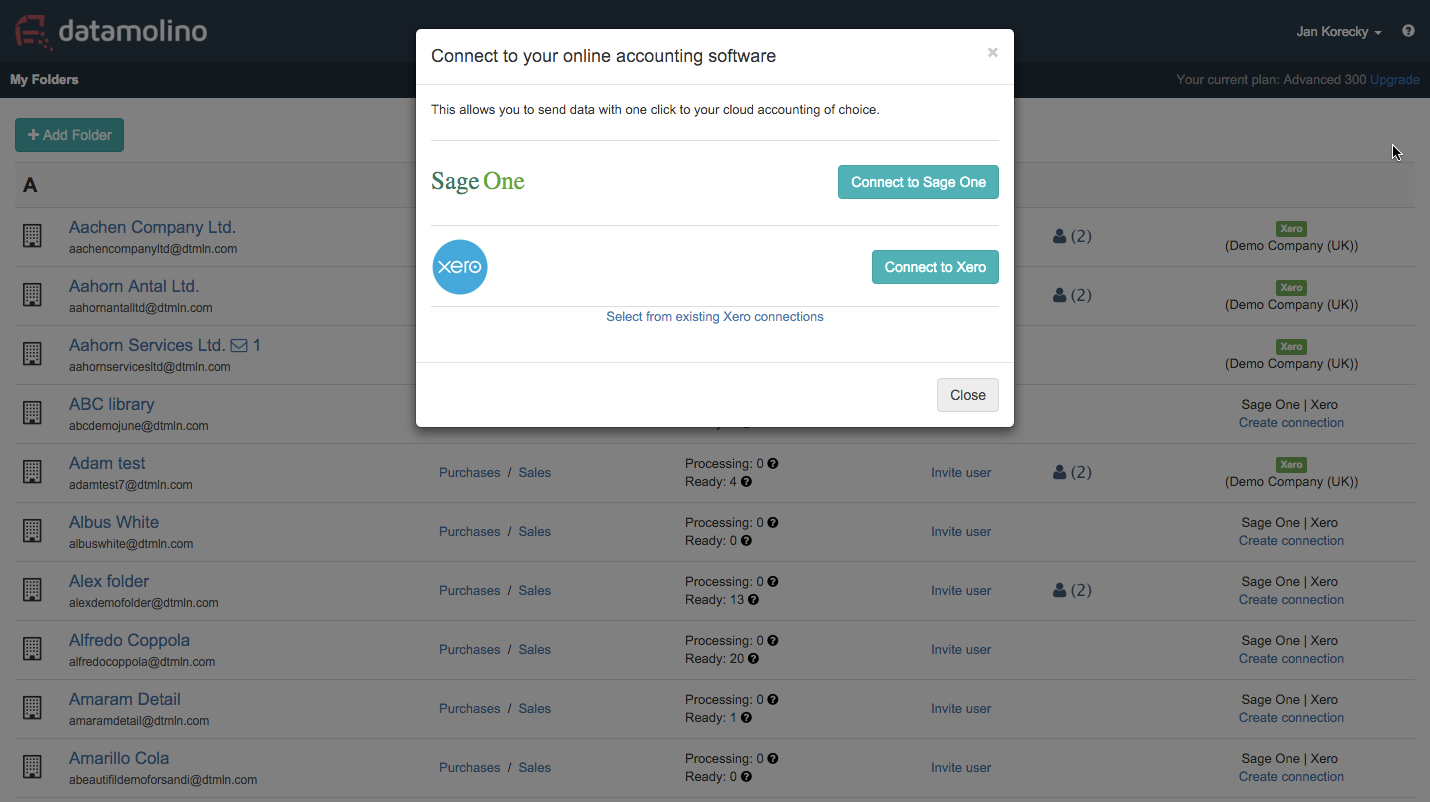 Connect Datamolino with your Xero or Sage One