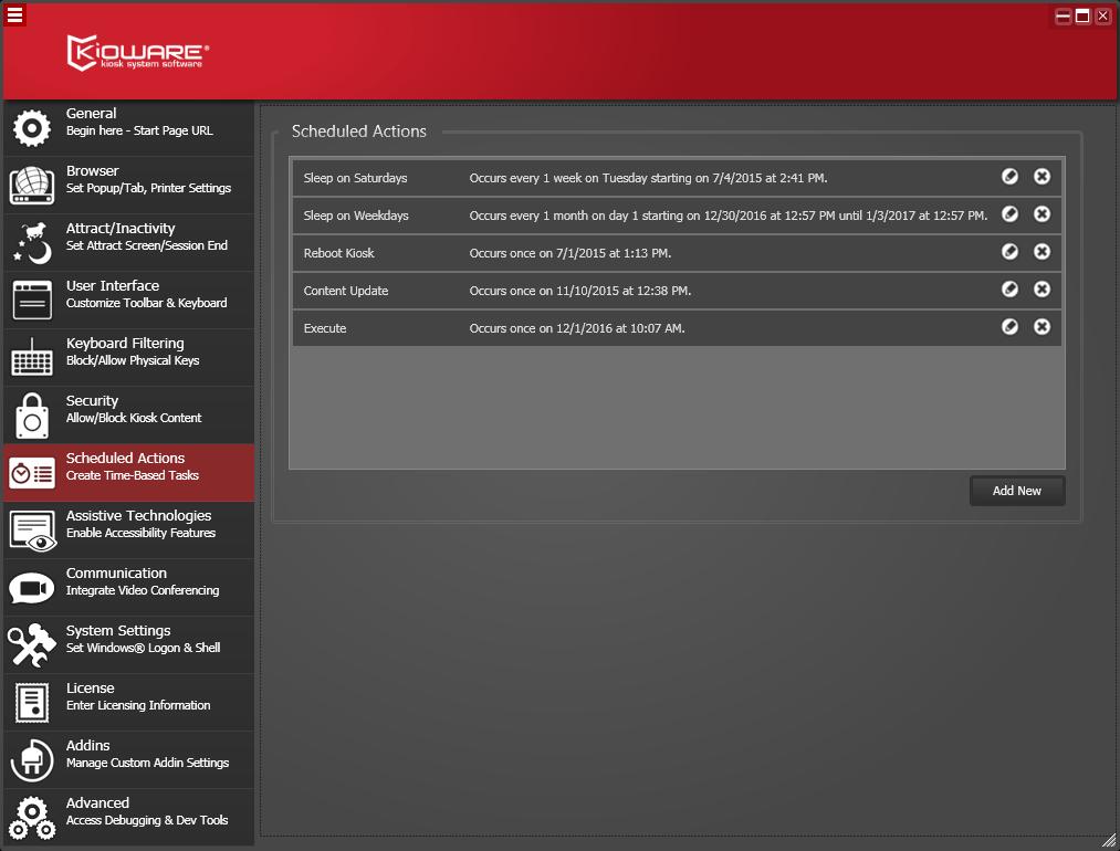 Kioware Kiosk Software scheduled actions