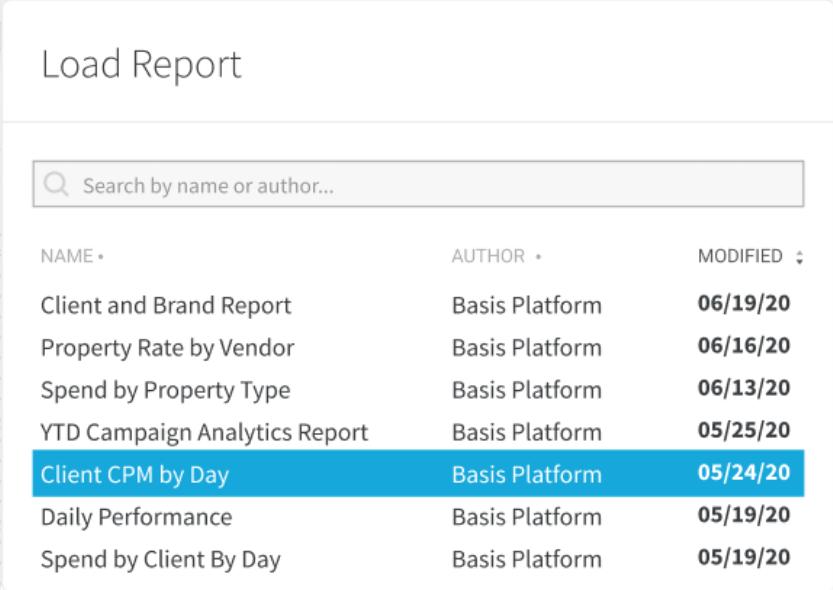 Basis Software - Basis reports