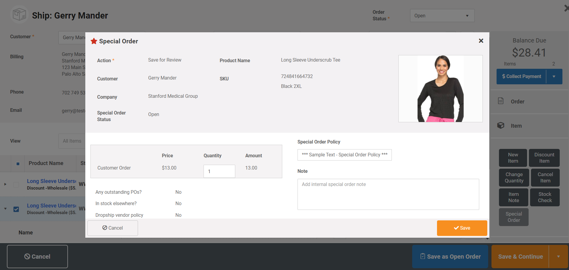Manage sales of items not in stock that need to be special ordered from vendor. Special order items are tagged through the ordering and fulfillment process, so that they can be treated differently than standard items in PO's and vendor shipments.