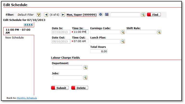Submit employee schedules marking clock-in and clock-out time
