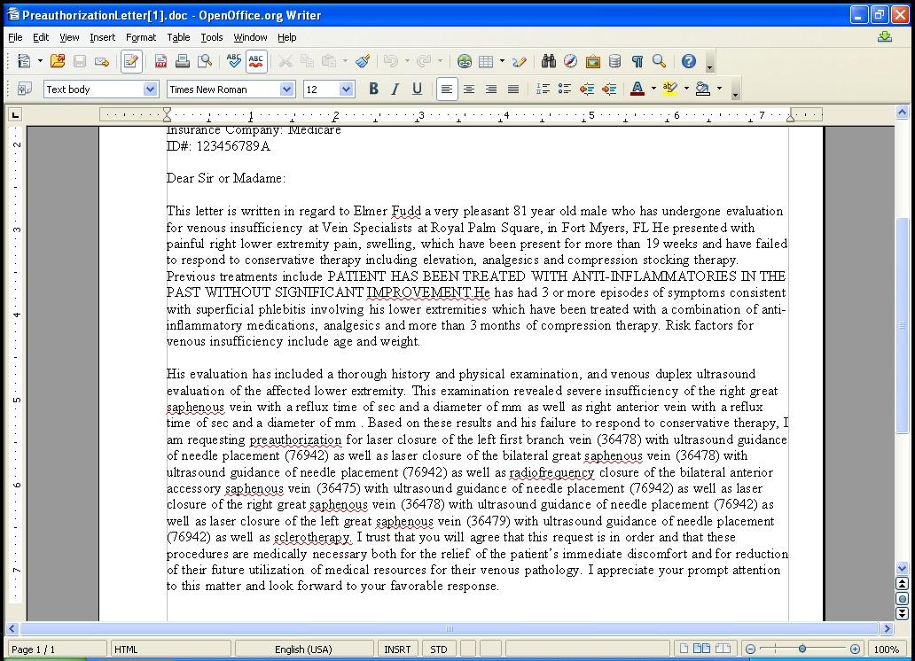 Preauthorization letter