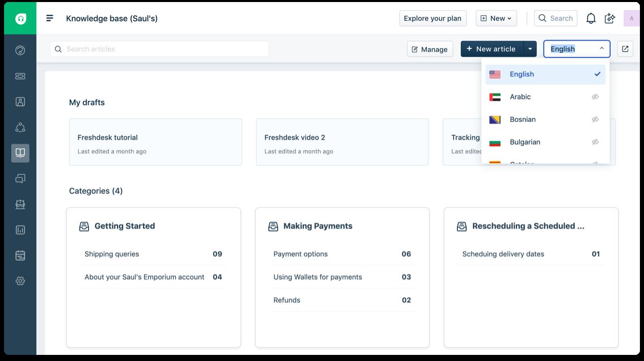 Multilingual self-service portal