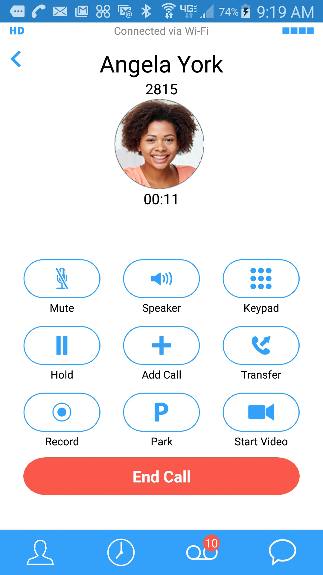 Virtual Office call in-progress
