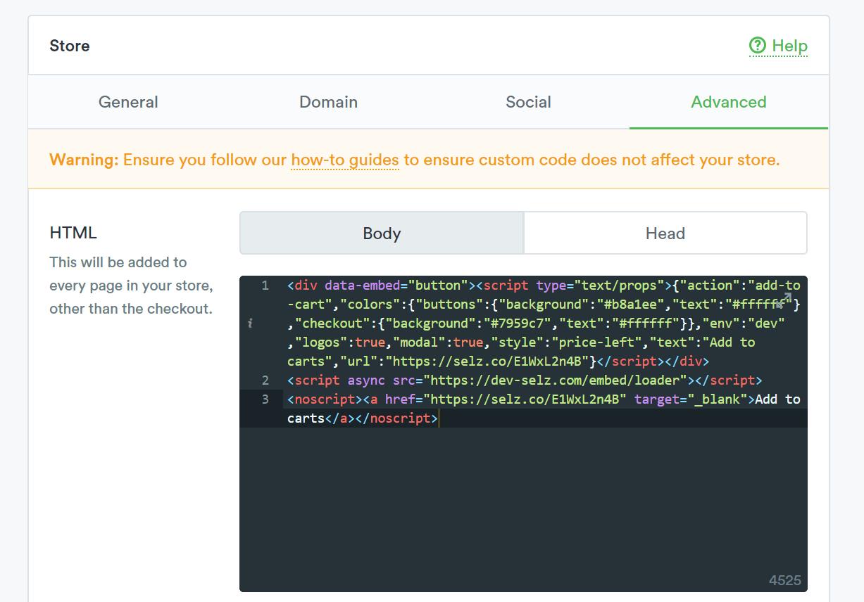 Selz HTML code