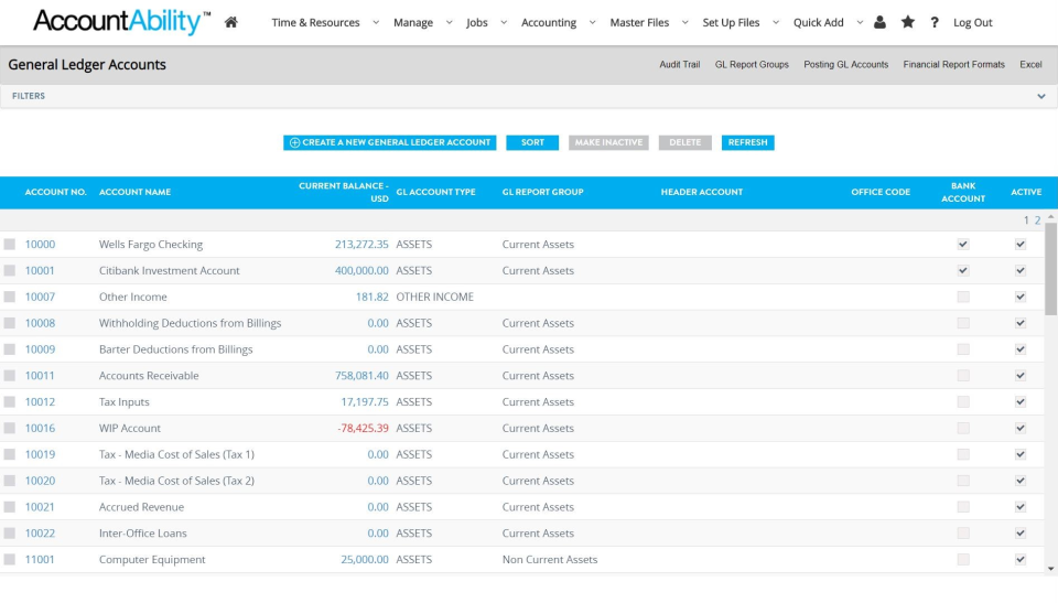 Accountability Software - Search GL Accounts