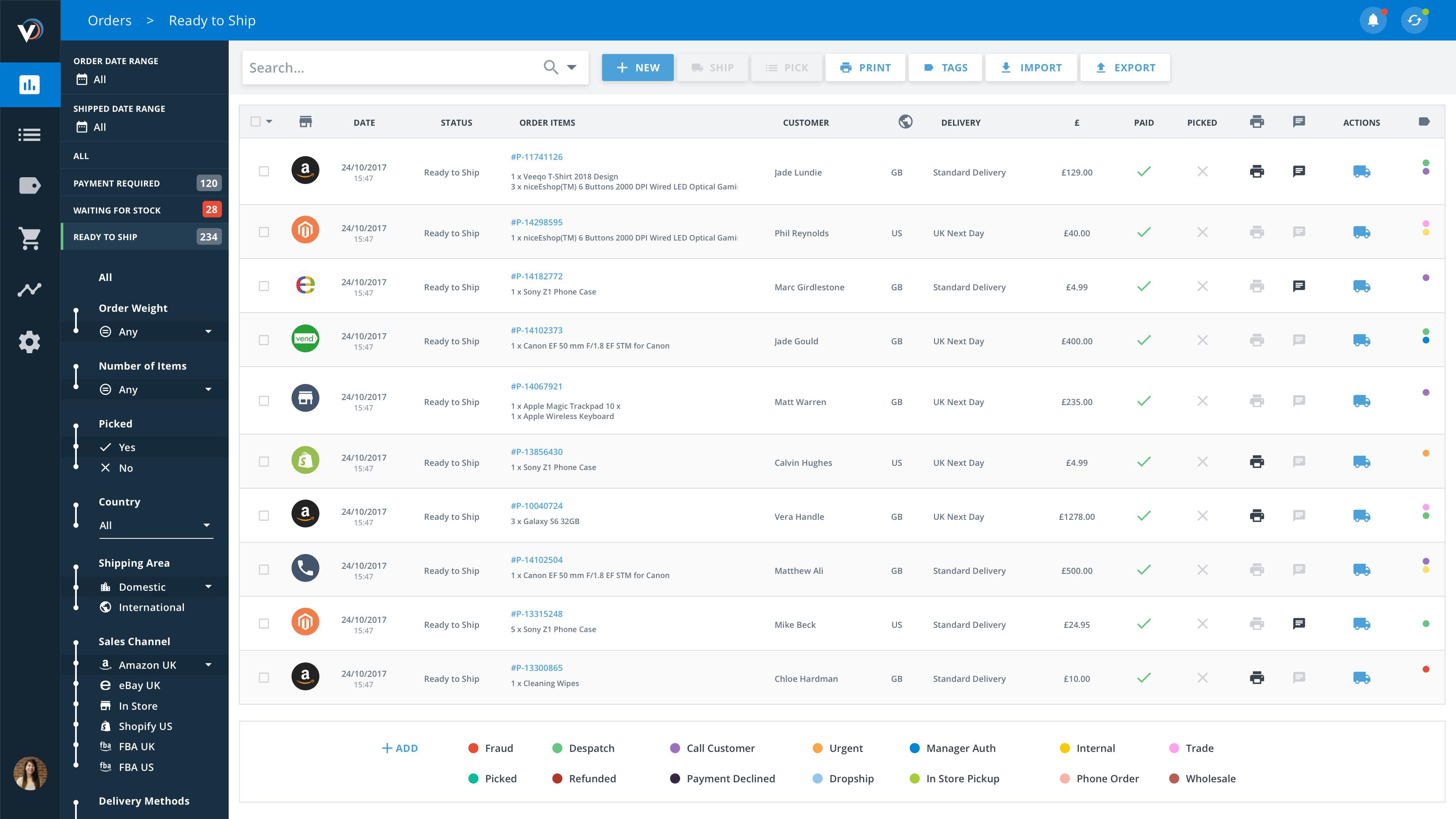 Veeqo Software - Orders Screen