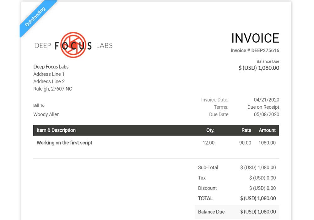 SuiteDash invoice