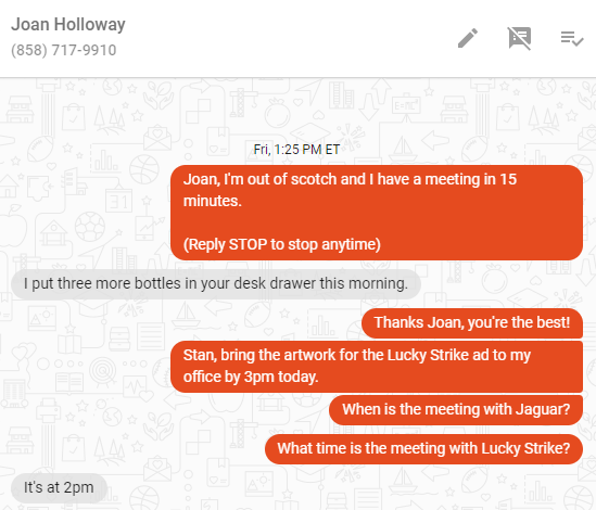 Call-Em-All text conversations
