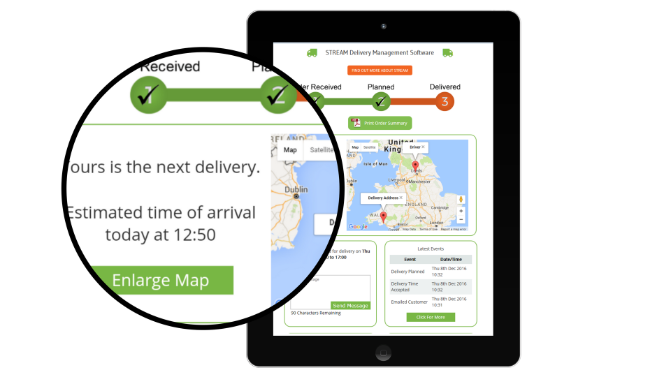 Customers can view their estimated time of delivery and track the vehicle on a geographic map