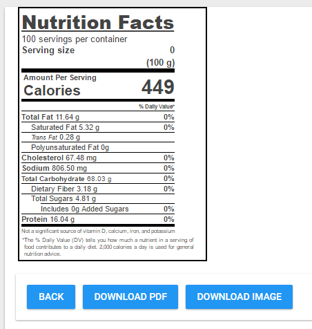 Nutritional label for menu items can be generated and printed