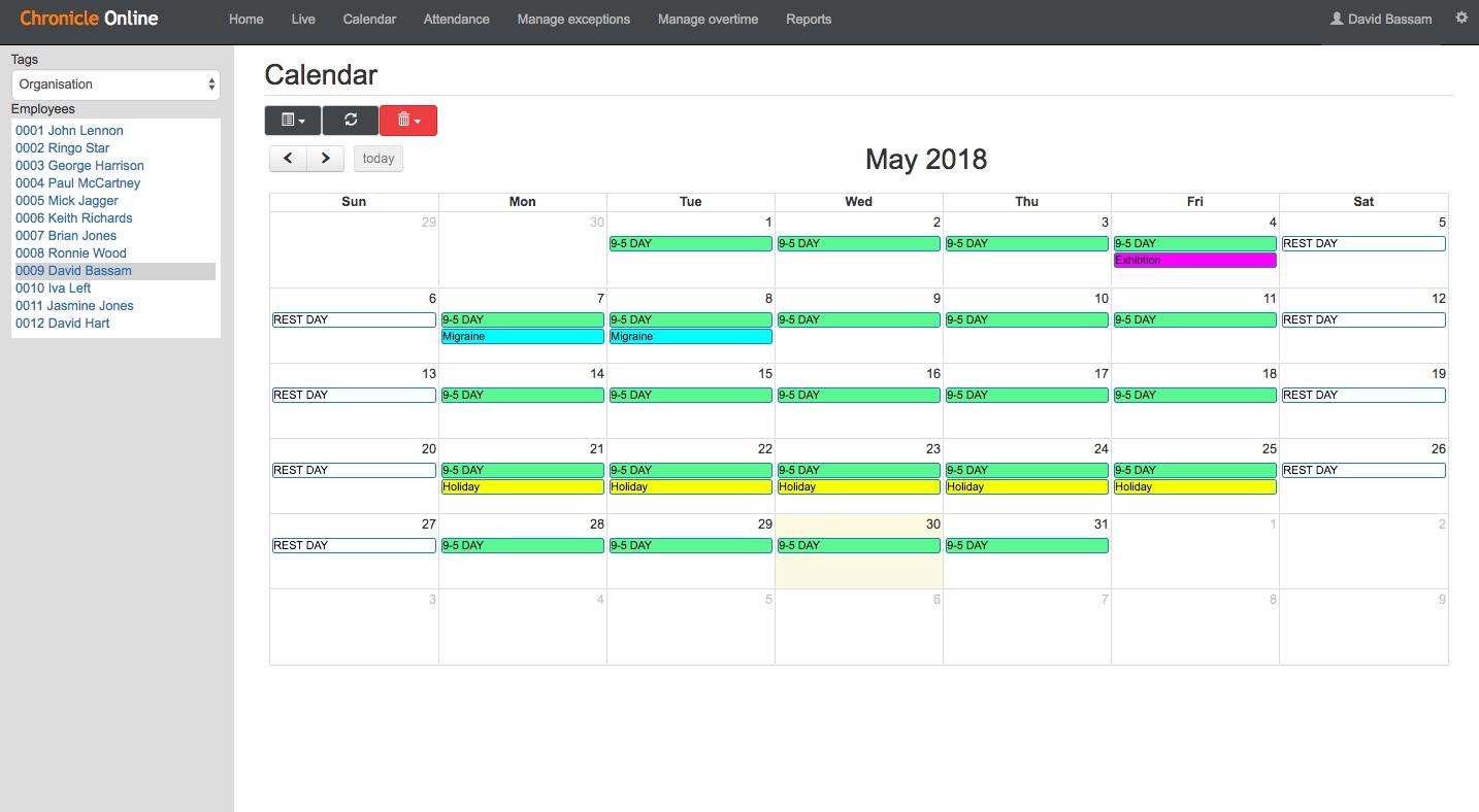 Chronicle Online - Calendar view