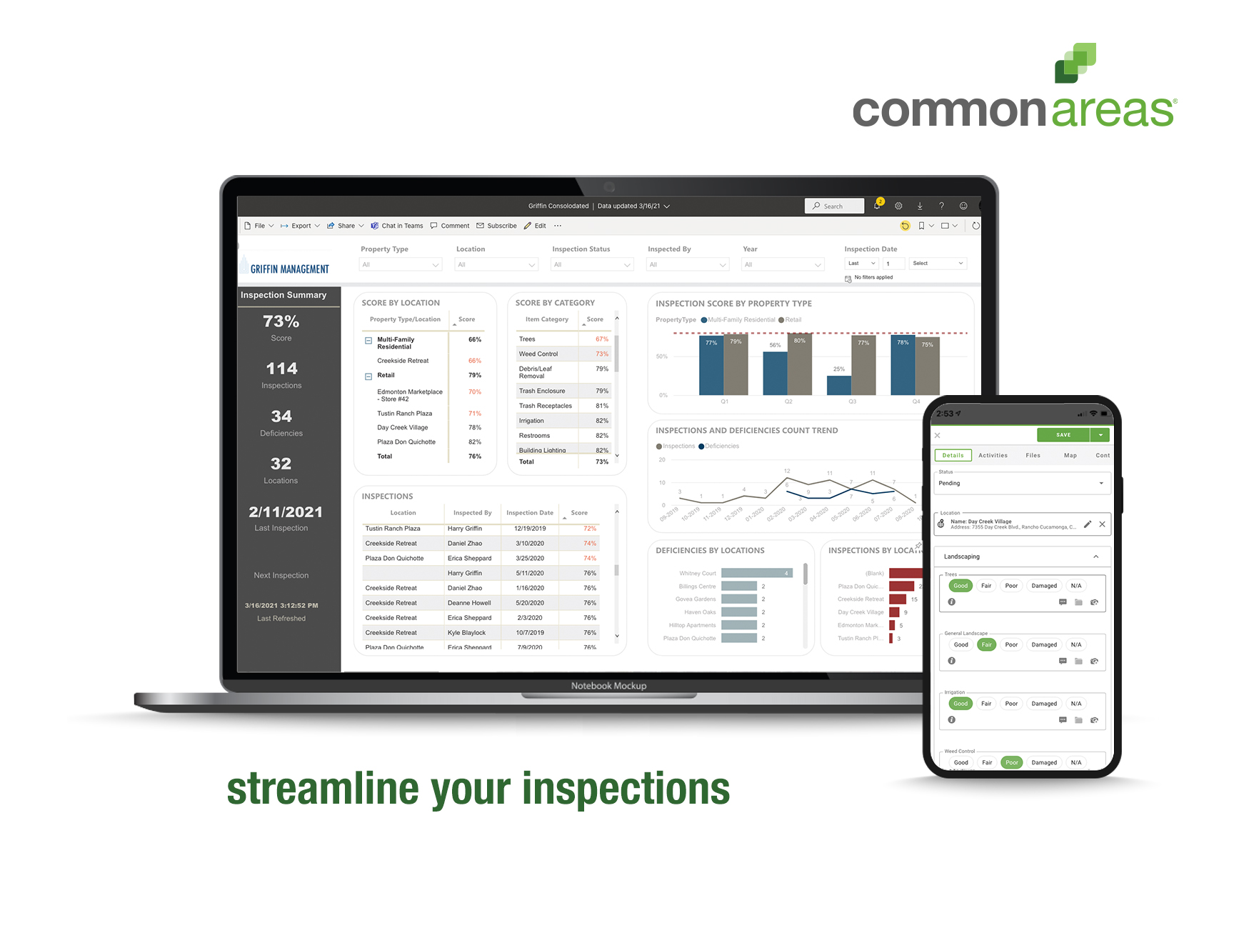 Common Areas screenshot: Staying on top of inspections and following a consistent process each time is key to keeping things running smoothly. Easily access the documentation needed to collect an accurate assessment of the condition of your properties and assets.