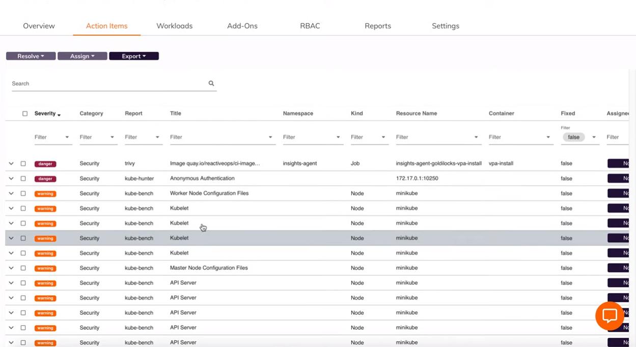 Fairwinds Insights screenshot: Fairwinds Insights action items