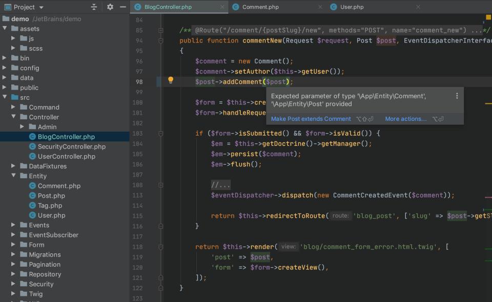 PhpStorm code editing