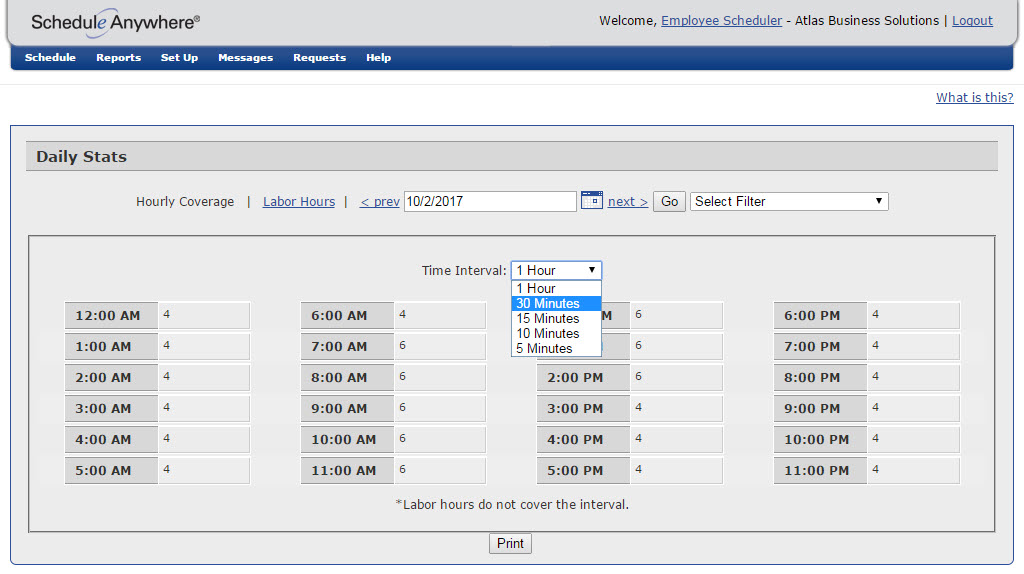 Users can track staffing coverage over 5, 10, 15, 30, and 60 minute intervals