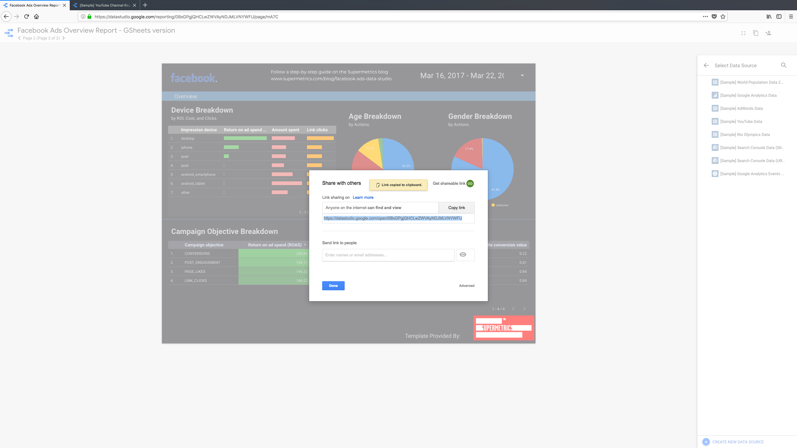 Google Data Studio Software - Reports can be shared with others via a sharable URL link that can be copied and pasted, or sent to contacts via email