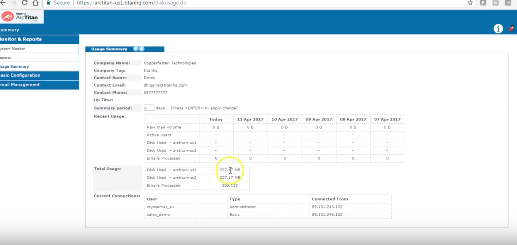 View a usage summary to identify how much storage space is being leveraged