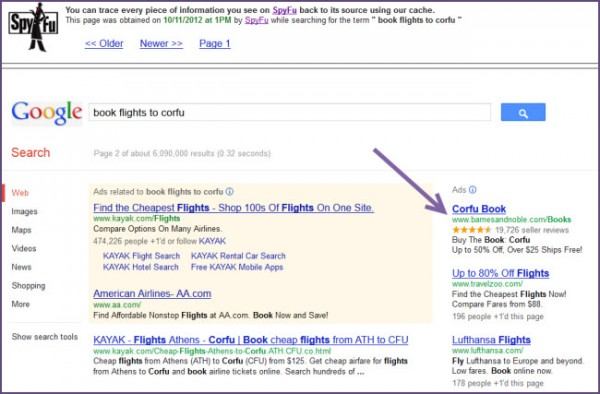 SpyFu keeps cached evidence of advertising keywords and copy