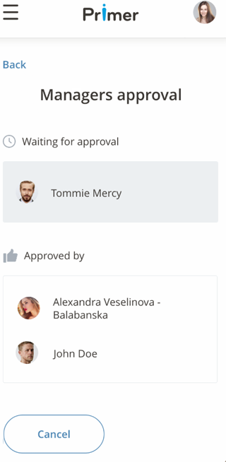 PrimeR manager's approval