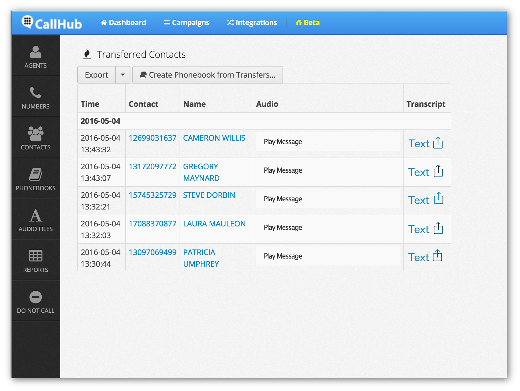 CallHub Software - CallHub voice transcription