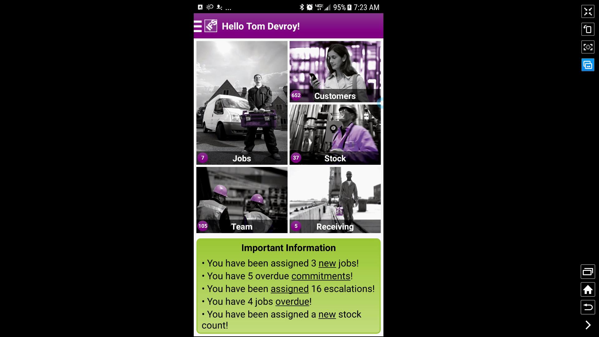 IFS Field Service Management screenshot: IFS FSM mobile interface screenshot