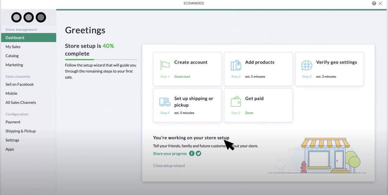 Ucraft set up online stores