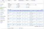 Main Street Sites screenshot: The classes grid allows users to pick a semester, and then add, edit or delete classes within that semester