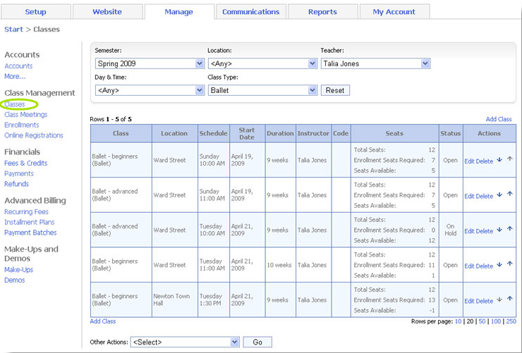 The classes grid allows users to pick a semester, and then add, edit or delete classes within that semester