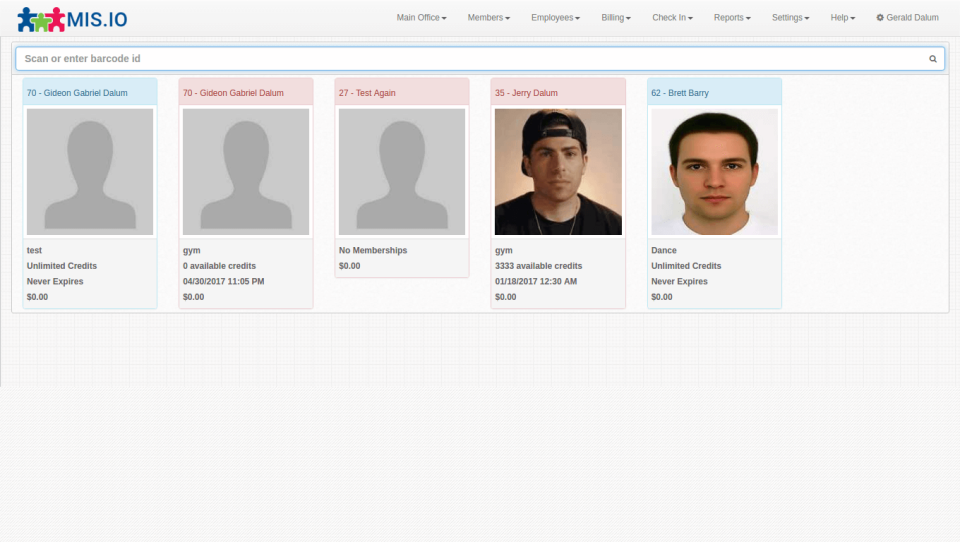 Membership Integrity System check-in screen