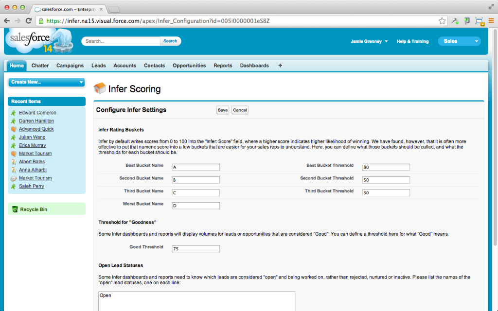 Infer settings and configuration in Salesforce