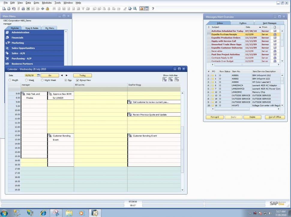 SAP Business One Software - Calendar