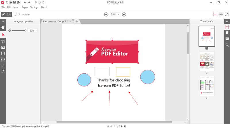Icecream PDF Editor - add images and objects