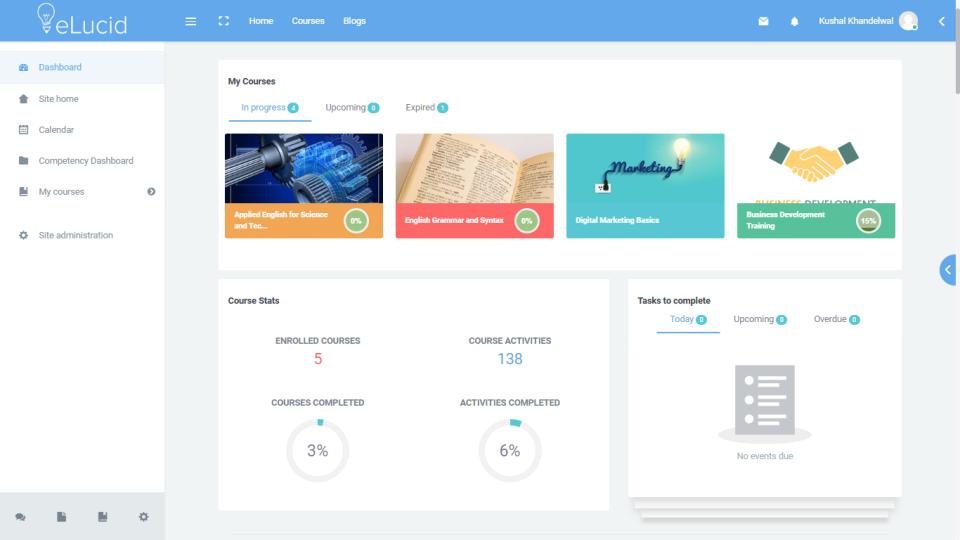 eLucid user dashboard screenshot
