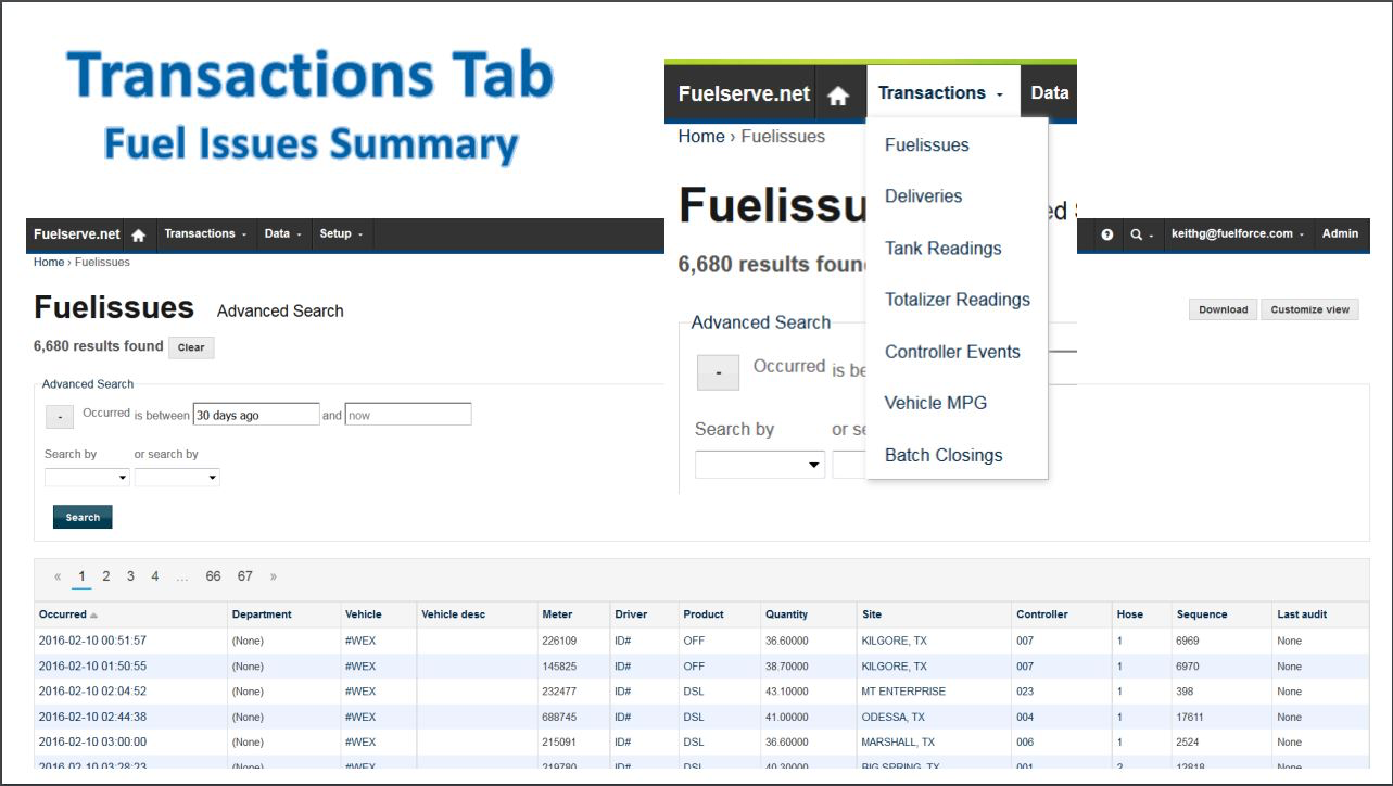 Fuel issues summary provides a fuel consumption report