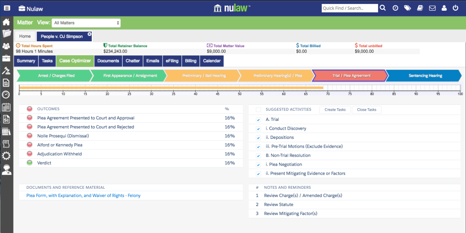 NuLaw includes tools for managing documents, matters, tasks, and more