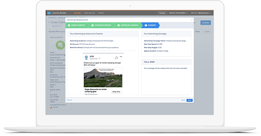 Build audiences on Facebook, Google, Instagram, Twitter, YouTube, and — with Salesforce DMP — the entire display advertising ecosystem.