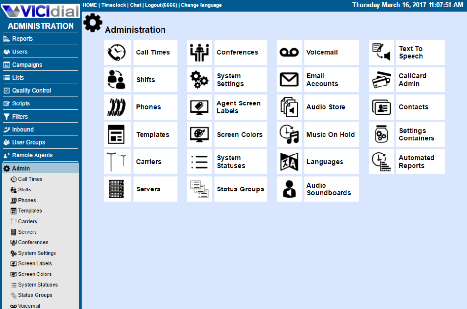 VICIdial Software - Web-based administration provides centralized access to a multi-lingual admin screen rich with system options