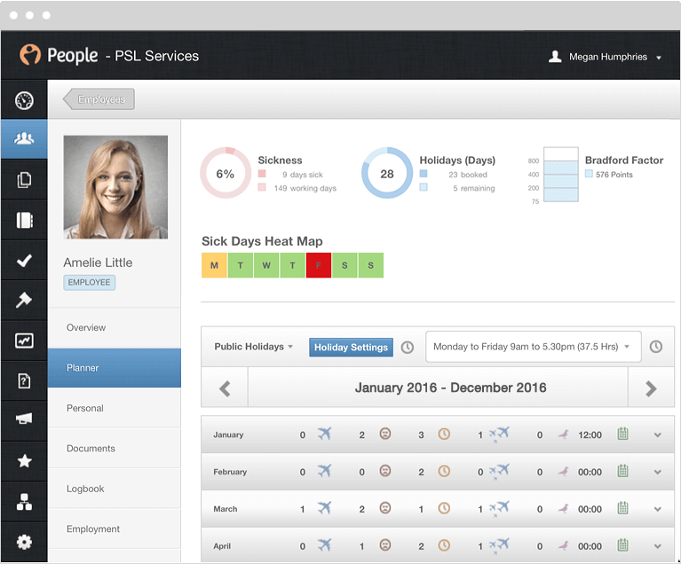 PeopleHR screenshot: Home-page