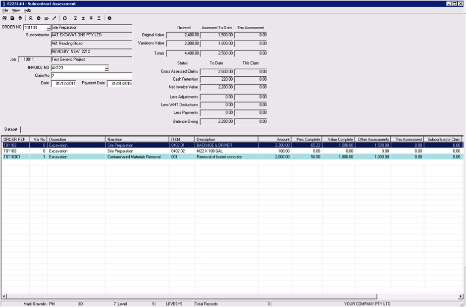 LEVESYS Software - Subcontractor tracking