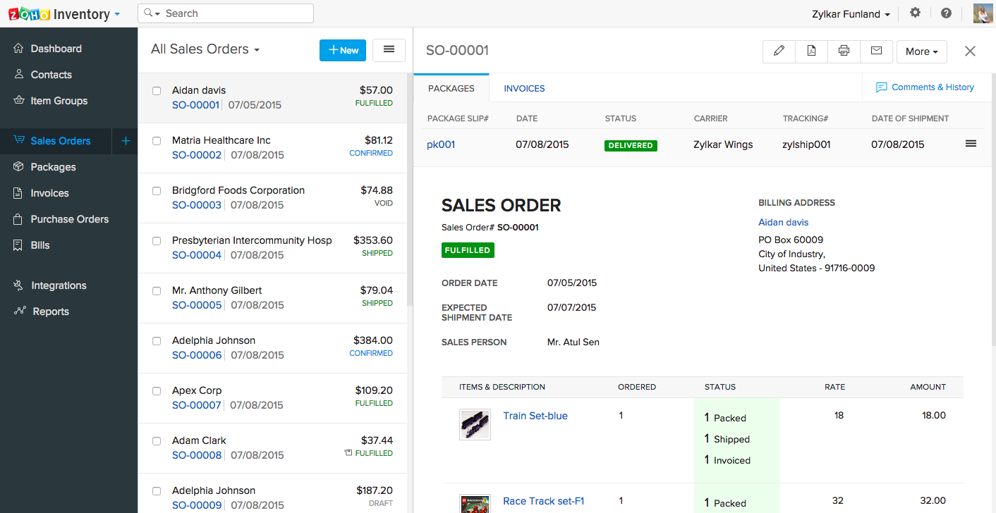 Zoho Inventory Software - Sales order