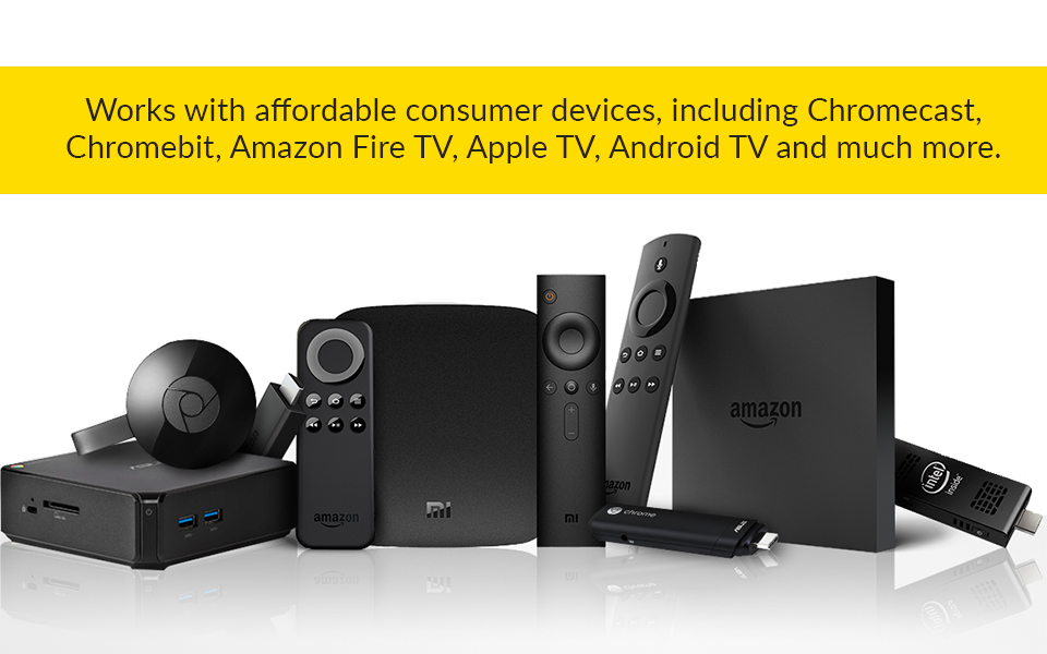 ScreenCloud supports the use of affordable consumer hardware and TV platforms including Chromecast, Chromebit, Amazon Fire TV, Apple TV, Android TV and more