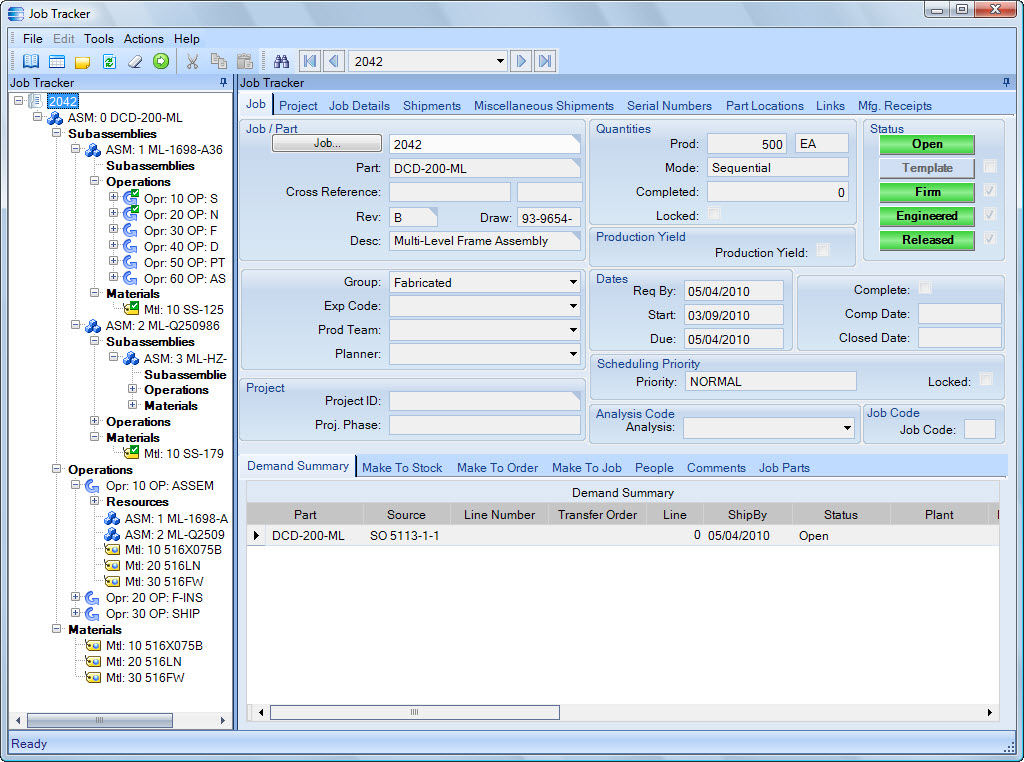 Epicor Express Job Tracker