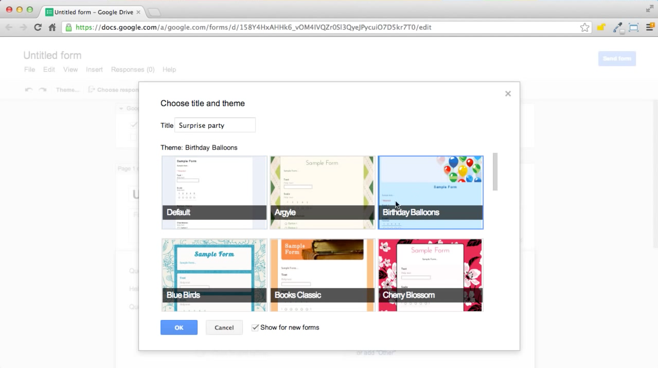 Google Forms screenshot: Choose a name and theme to create a new form