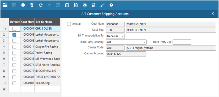AIT SureShip Software - Customer freight account page %>