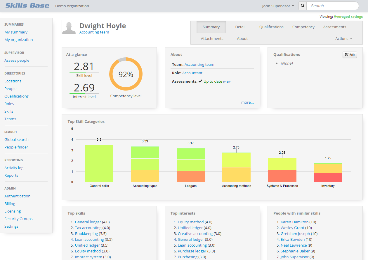 Skills Base screenshot: Assess, track and report on skill and interest levels of all people